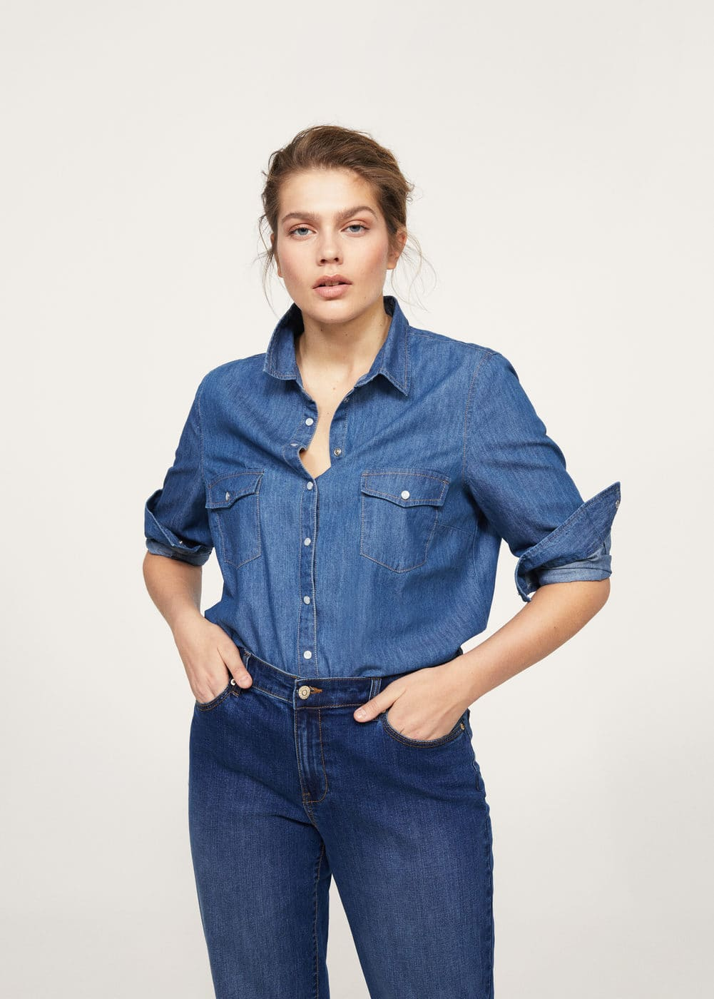 Dark denim shirt | VIOLETA BY MANGO