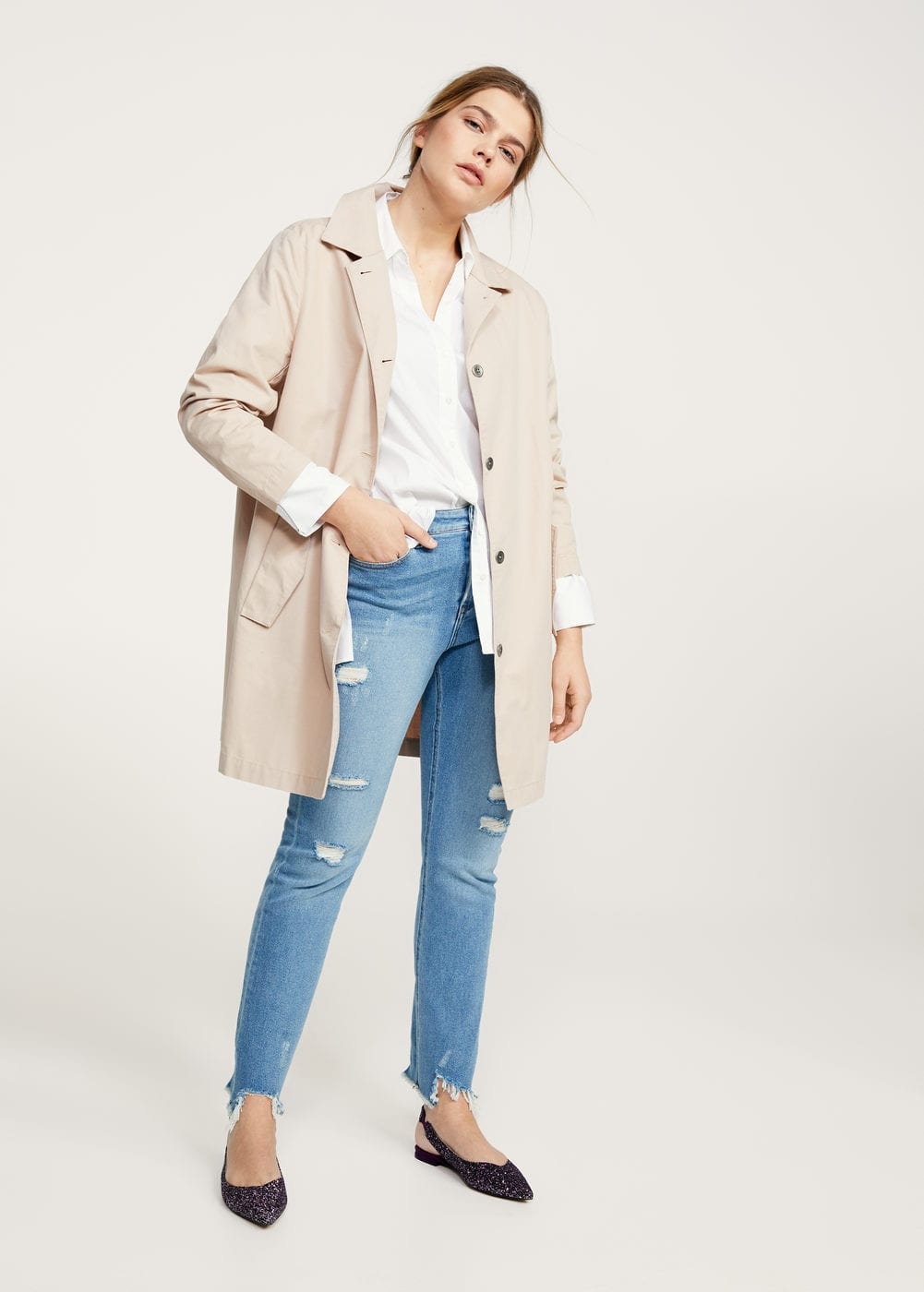 Buttons cotton trench | VIOLETA BY MANGO