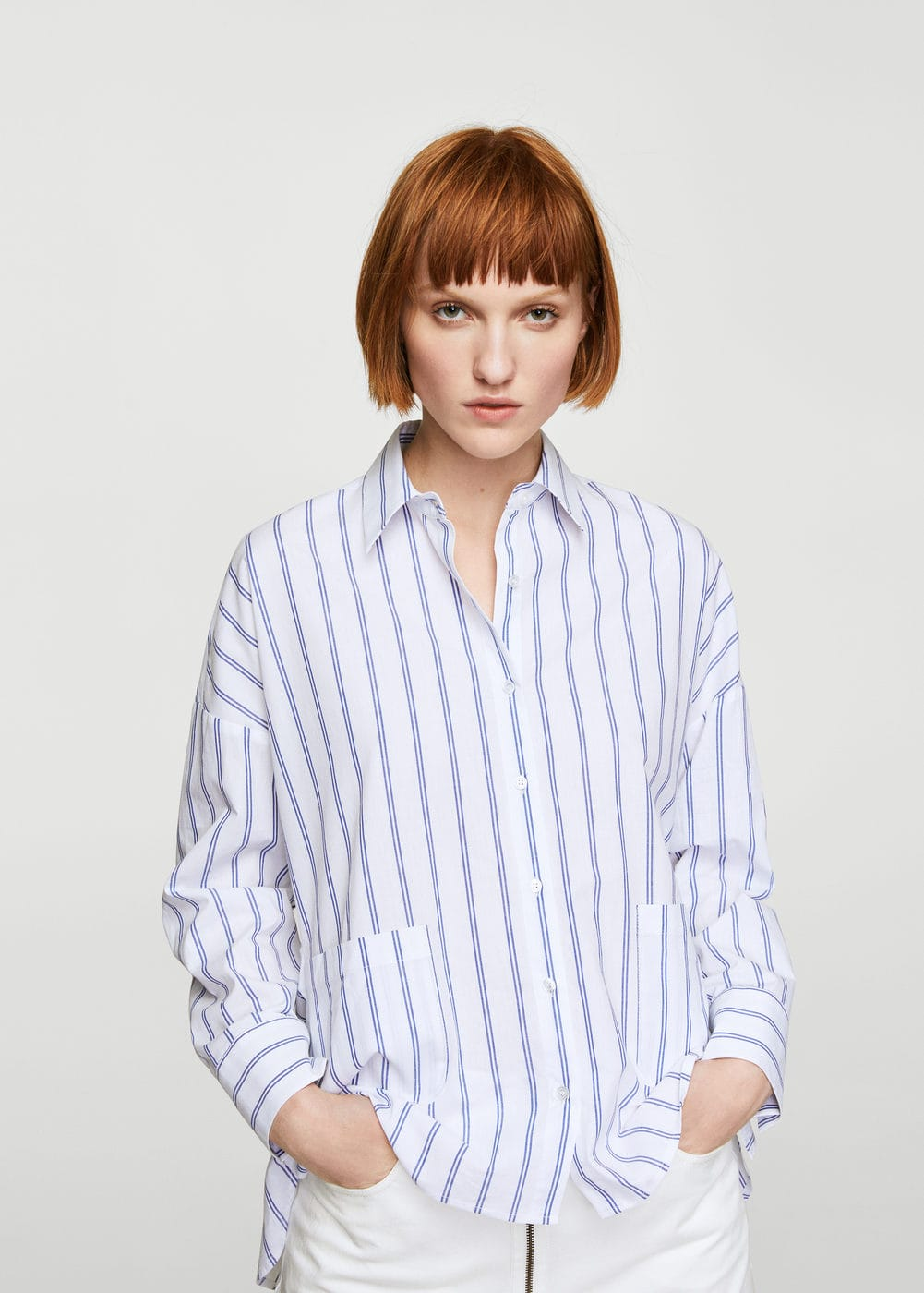 Pocket striped shirt | MANGO