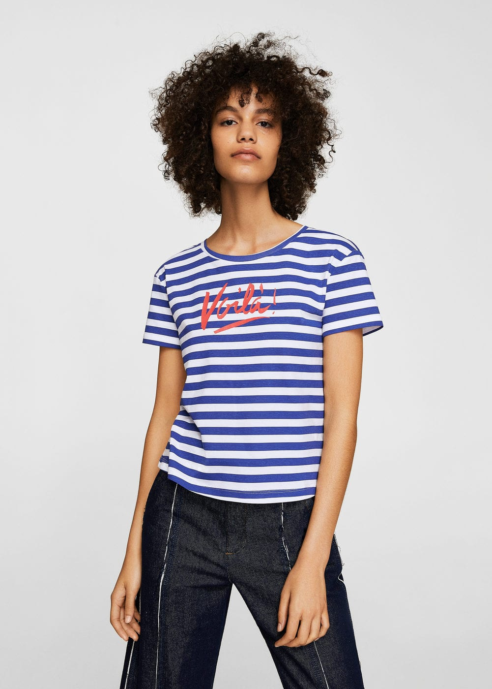 Striped crop t-shirt | MANGO