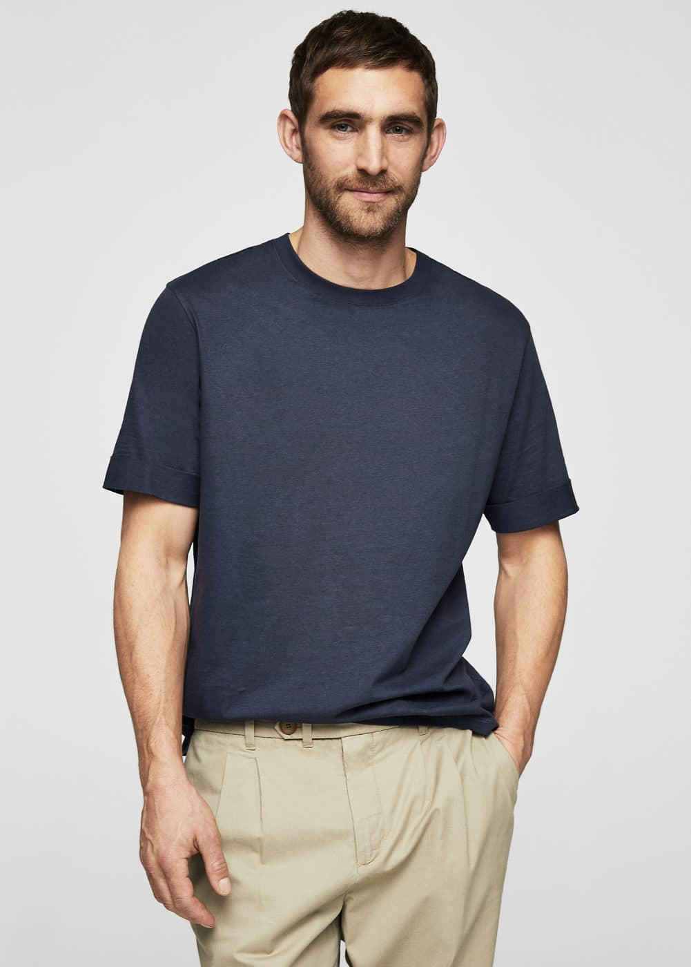 Rolled-up sleeves t-shirt | MANGO MAN