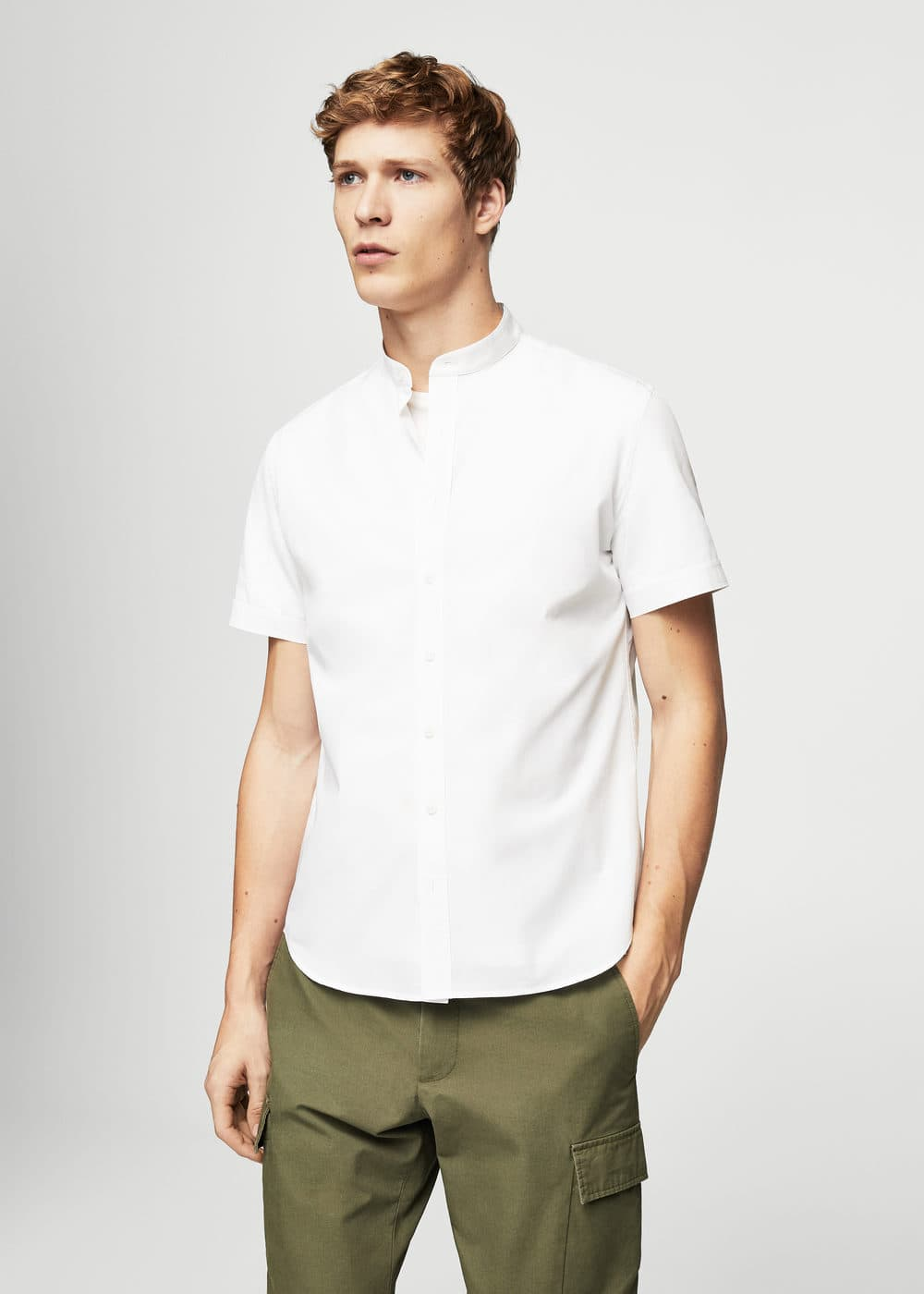 Slim-fit end-on-end cotton shirt | MANGO MAN