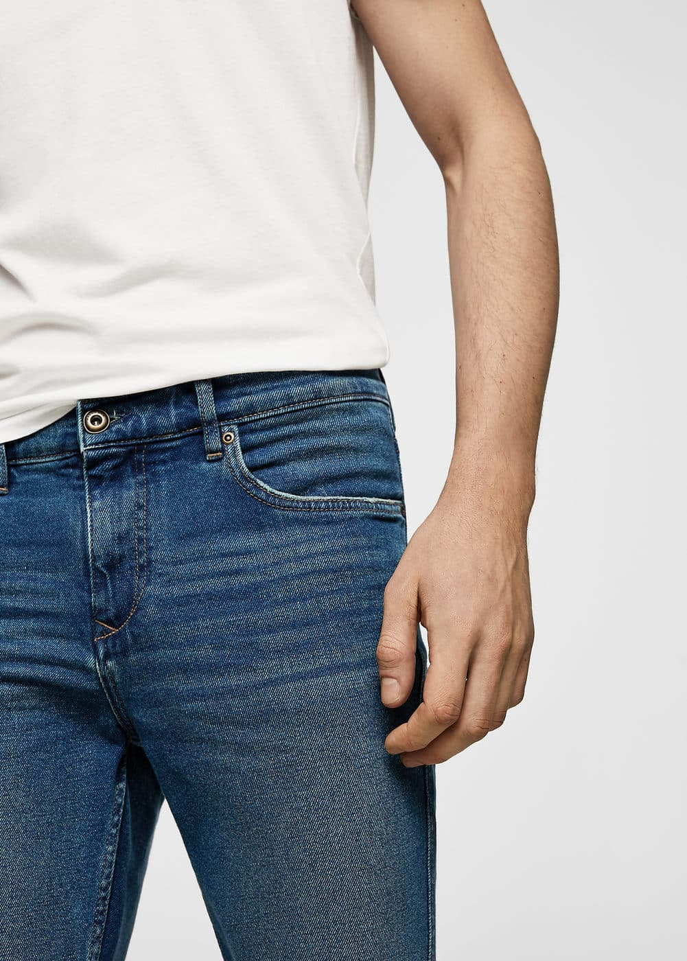 Slim-fit dark blue tim jeans | MANGO MAN