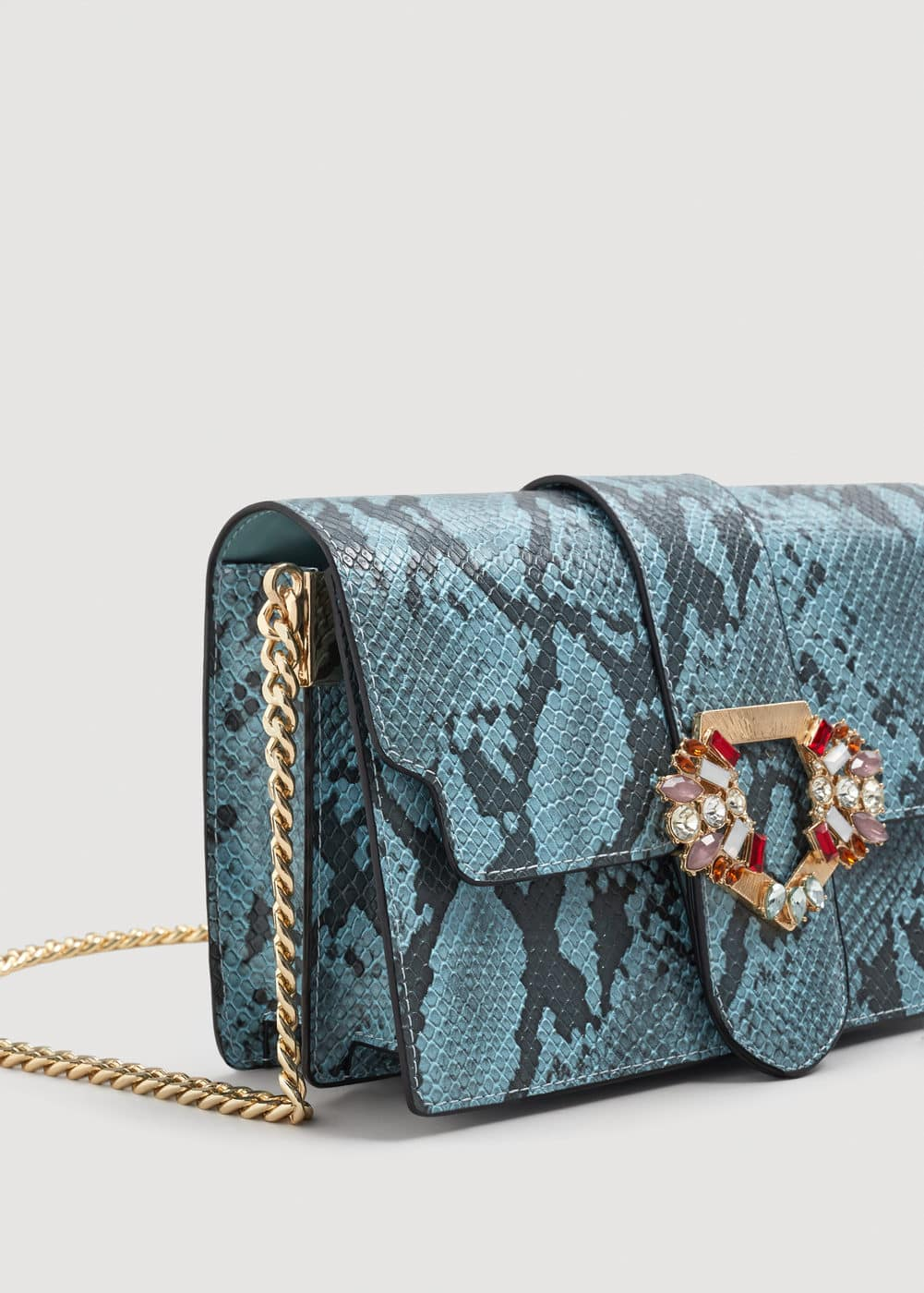 Faceted crystal snakeskin bag  | MANGO