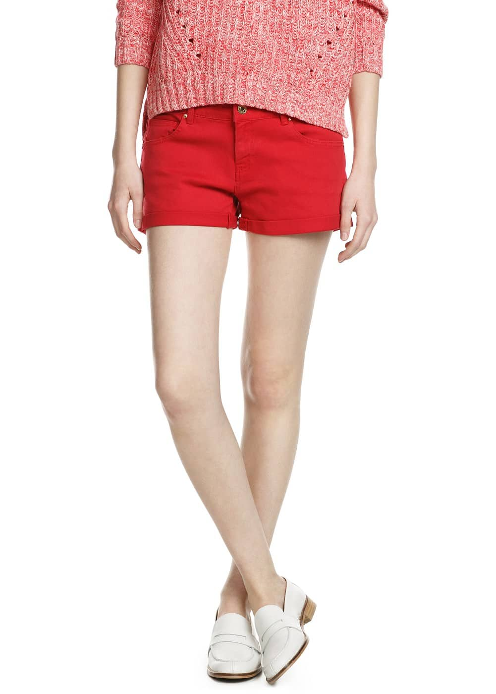 Red denim shorts | MANGO