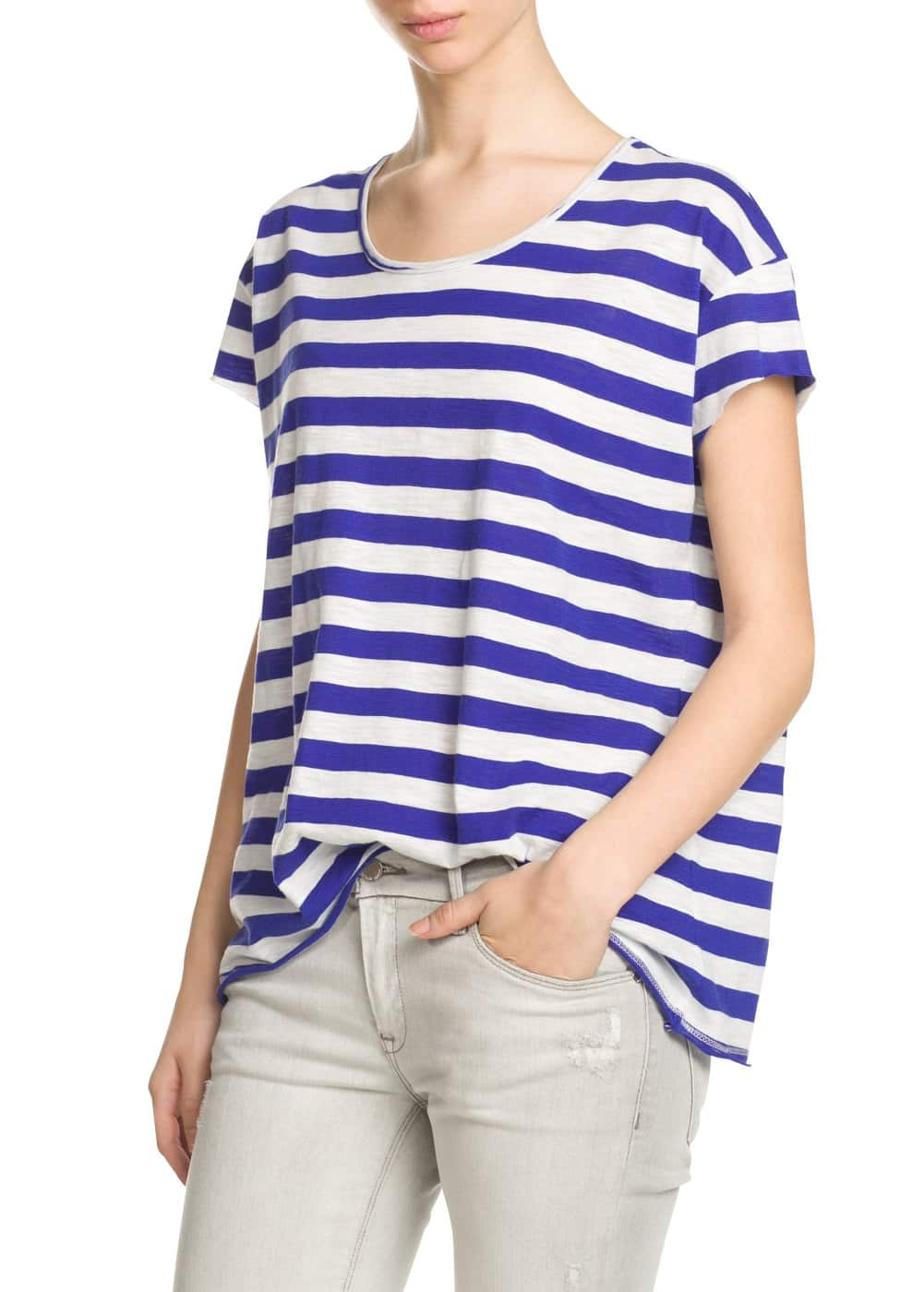 Striped slub-cotton t-shirt | MANGO
