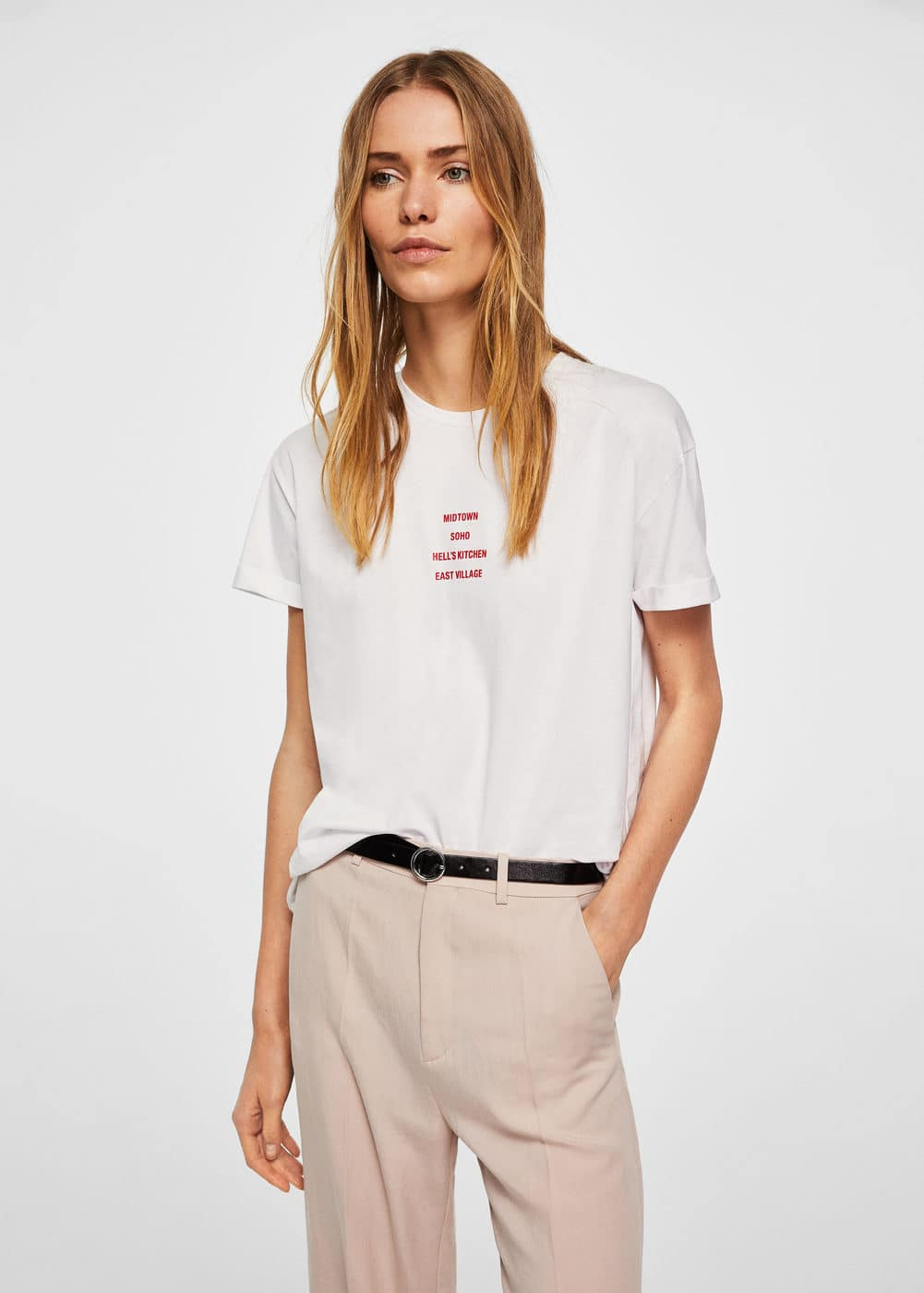 Organic cotton message t-shirt | MANGO
