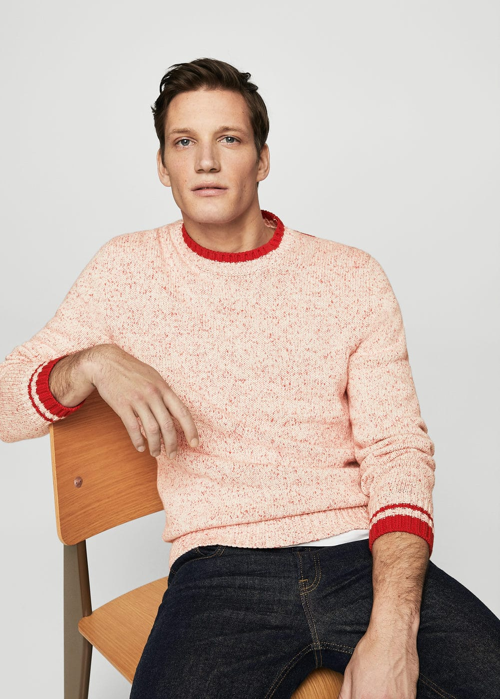 Contrast-edge flecked sweater | MANGO MAN