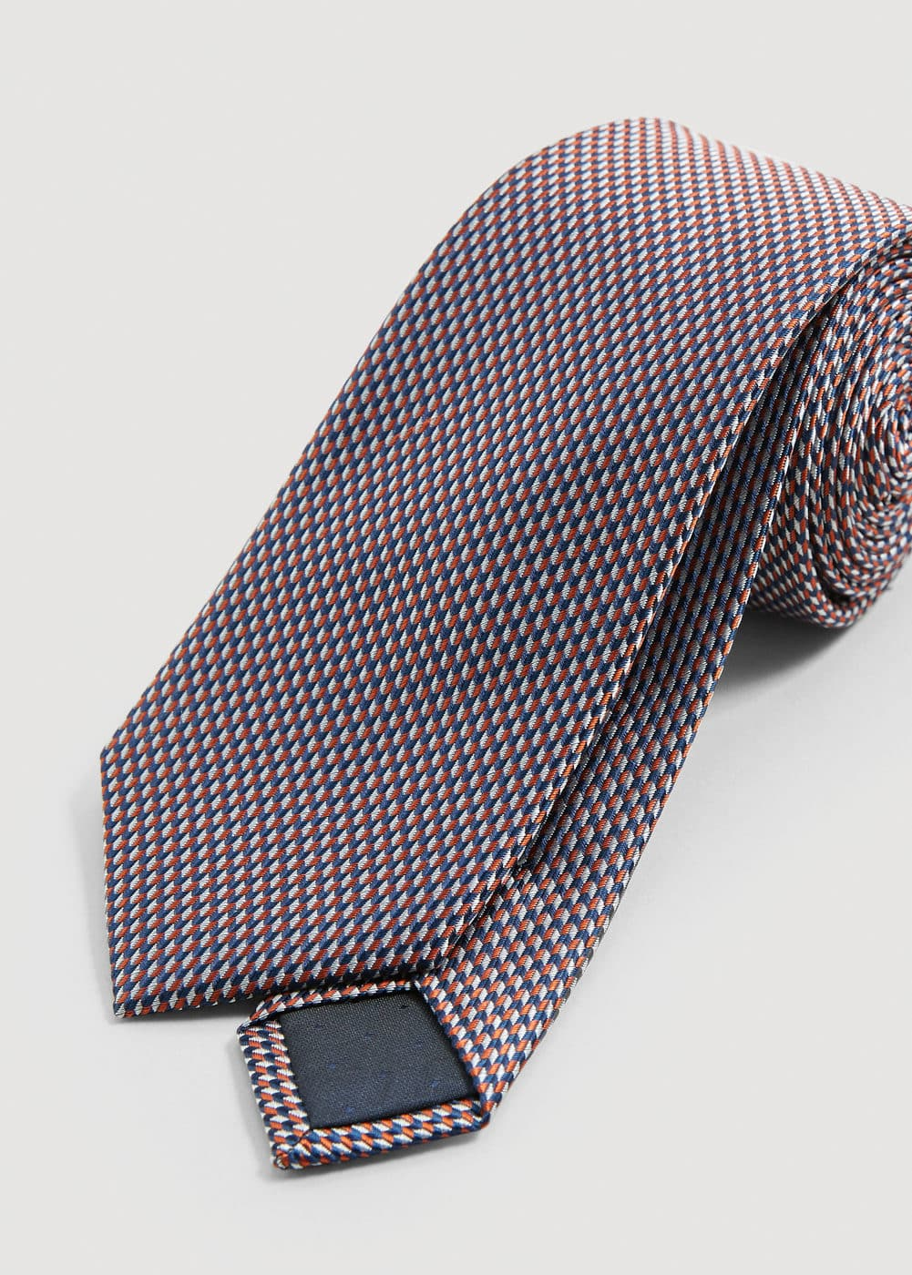 Geometric patterned silk tie | MANGO MAN
