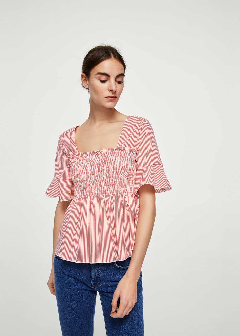 Ruched detail striped blouse | MANGO