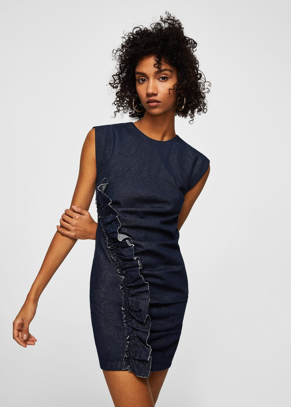 Frilled denim dress | MANGO
