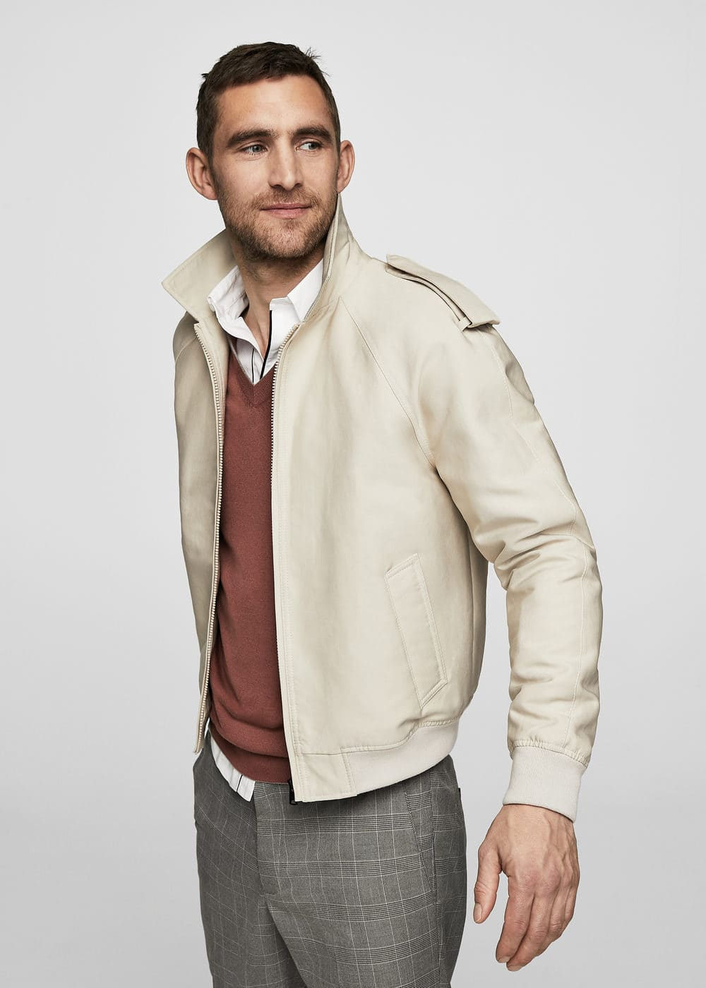 Cotton nylon-blend jacket | MANGO MAN