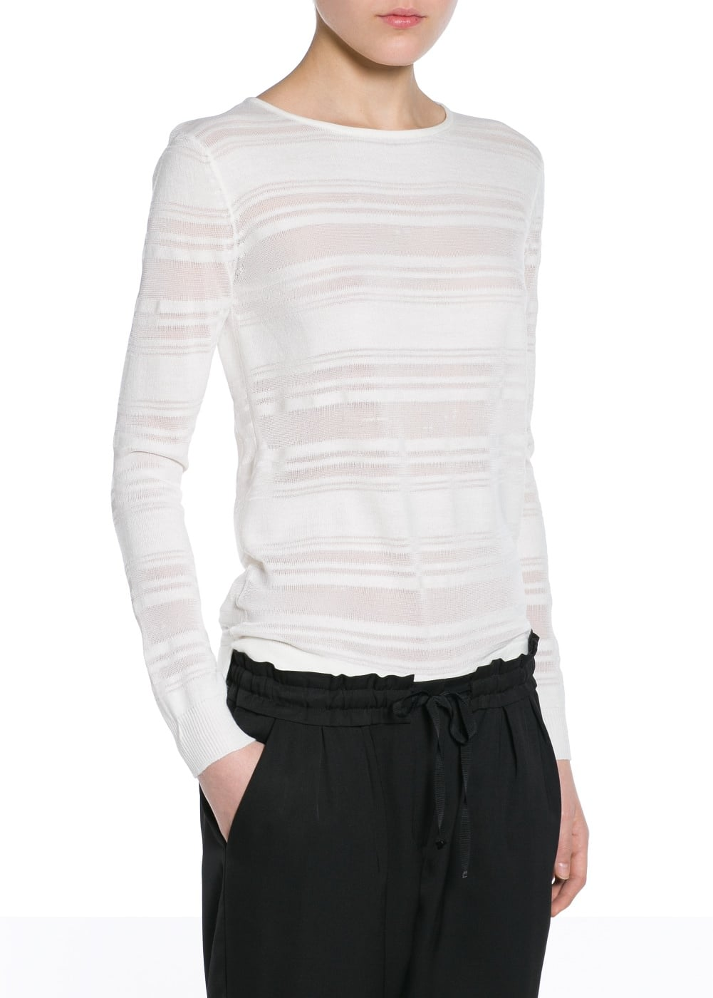 Transparent striped sweater | MANGO