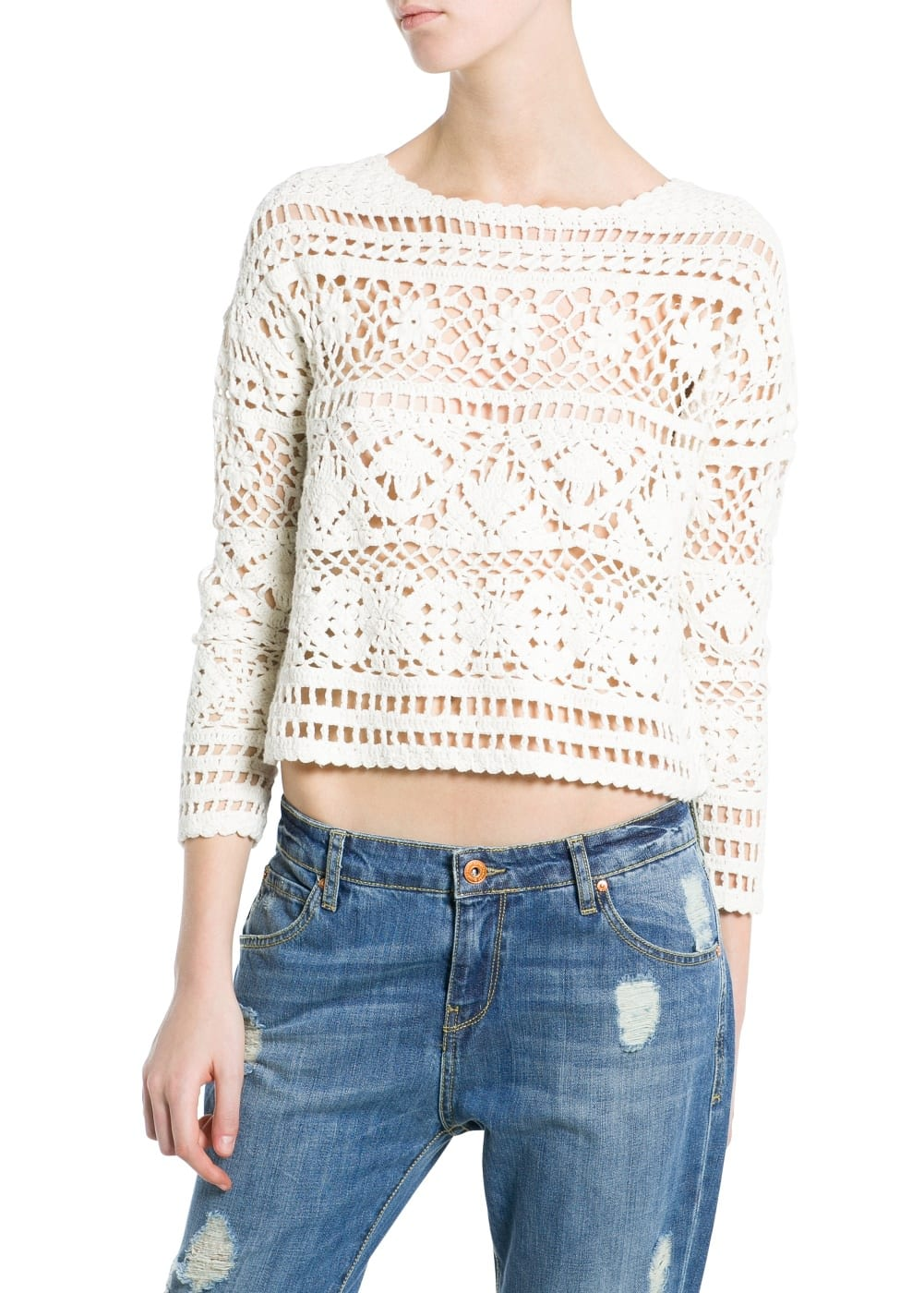 Crochet cropped sweater | MANGO