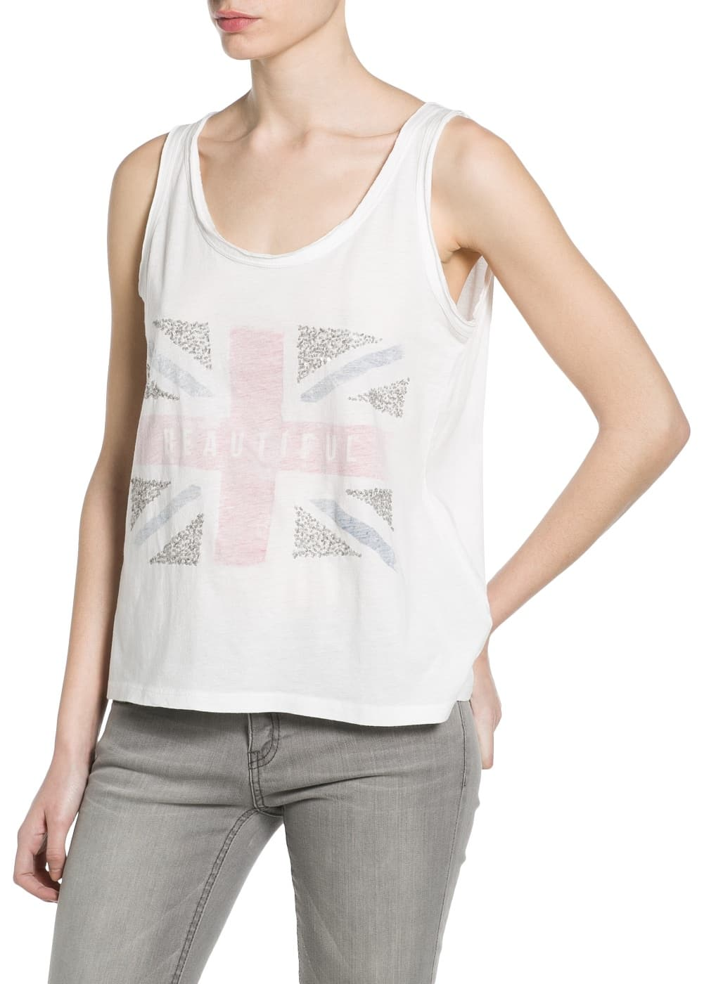 Sequin flag t-shirt | MANGO