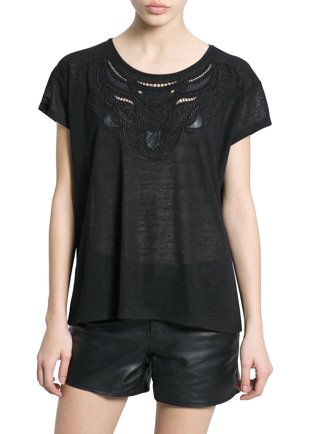 Beaded embroidery t-shirt | MANGO