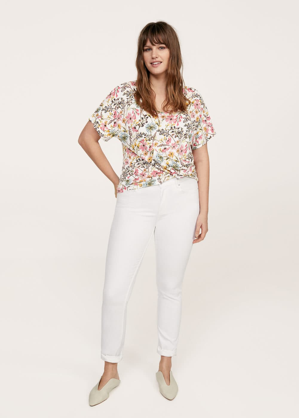 Flowers linen-blend t-shirt  | VIOLETA BY MANGO
