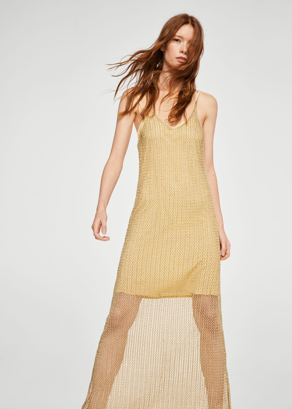 Long net dress | MANGO