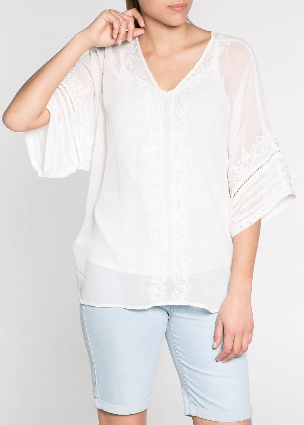 Beaded embroidered caftan blouse | MANGO