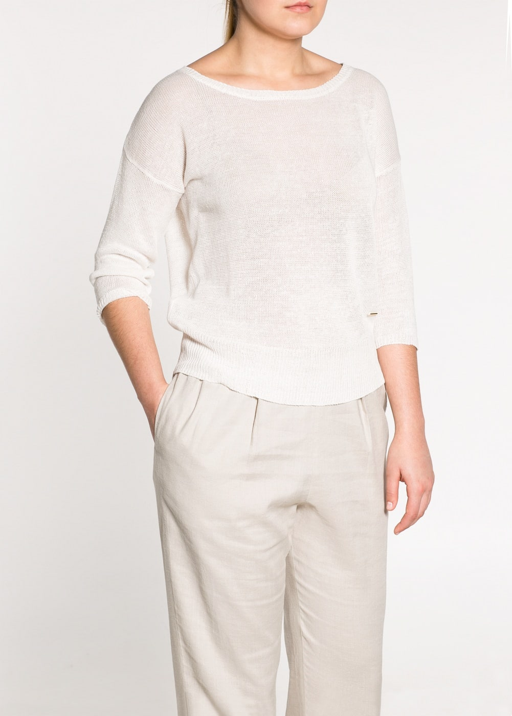 Back zip loose-fit sweater | MANGO