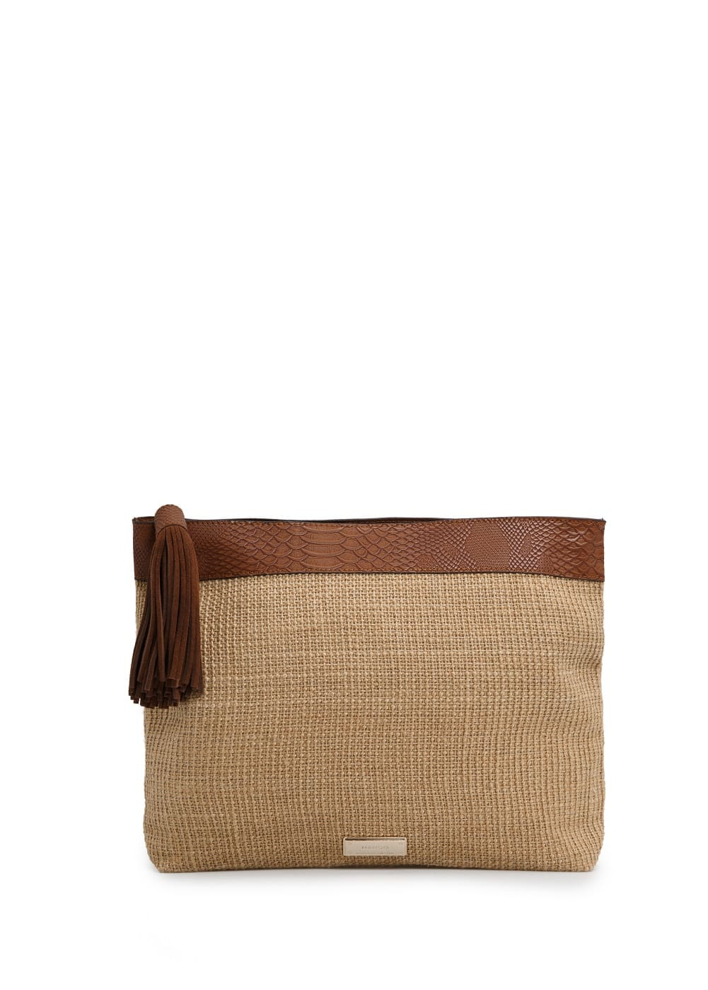 Leather yute-blend clutch | MANGO