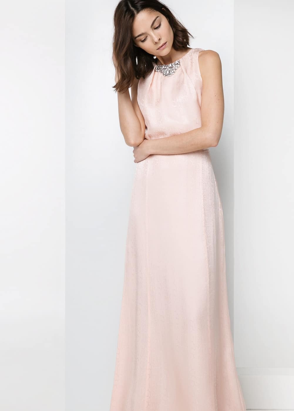 Silk-blend long dress | MANGO