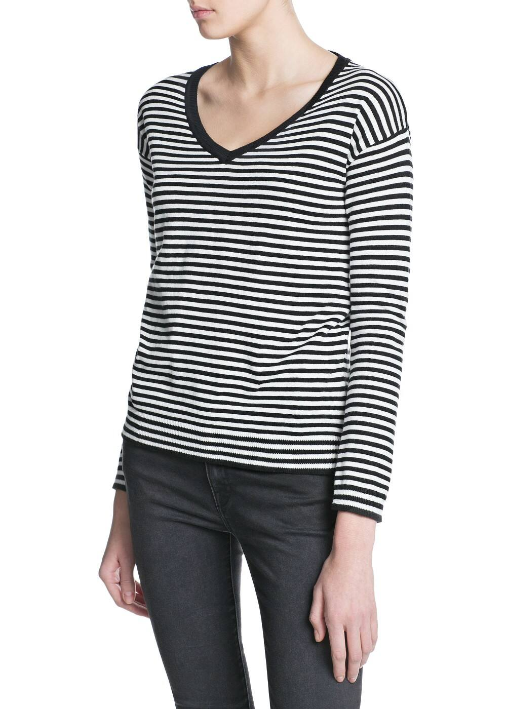 Striped v-neck sweater | MANGO