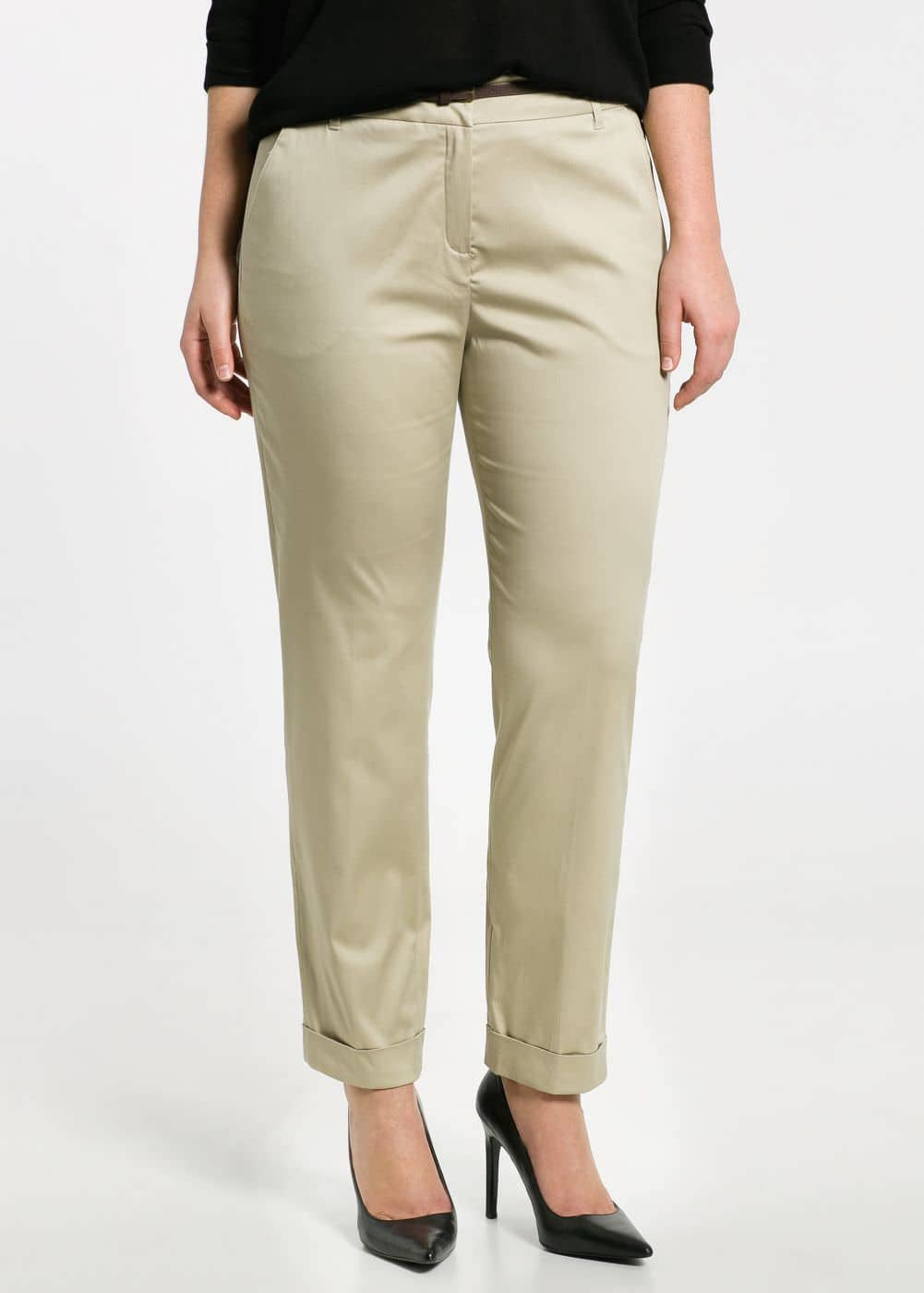 Belted cotton trousers | MANGO