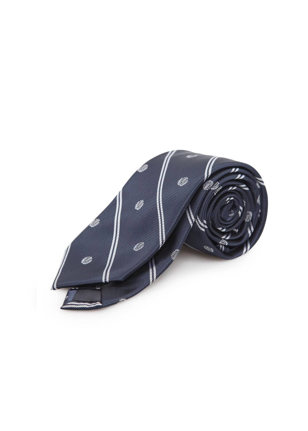 Emblem-patterned striped tie | MANGO