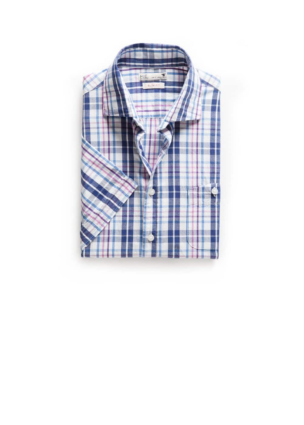 Slim-fit short sleeve check shirt | MANGO