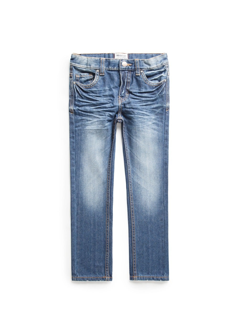 Straight-fit medium wash jeans | MANGO