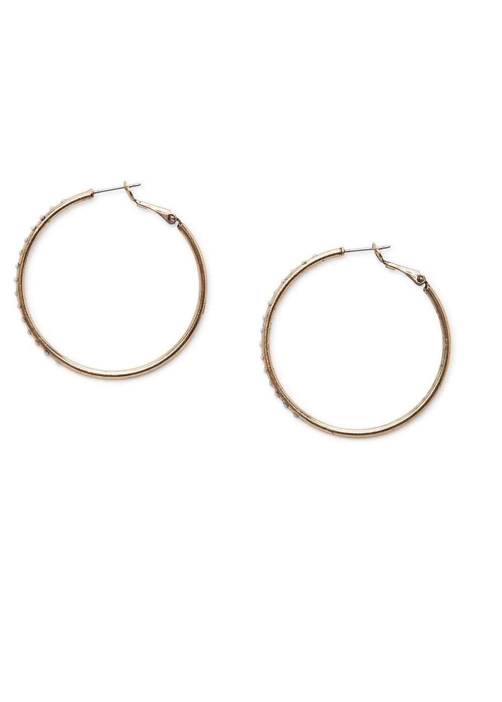 Rhinestone hoop earrings | MANGO