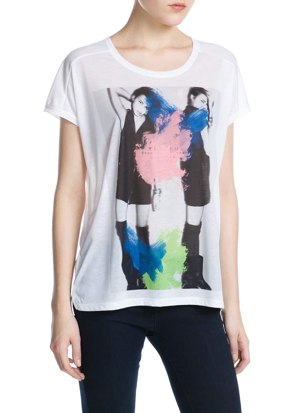 Paint print t-shirt | MANGO MAN