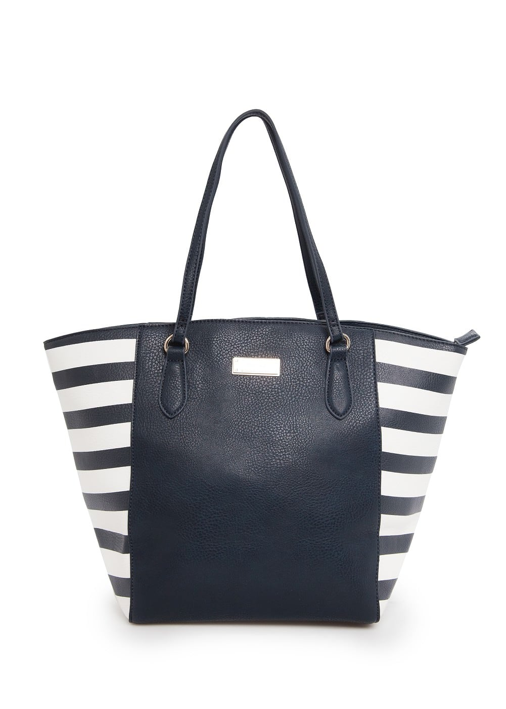 Sac shopper empiècements rayés | MANGO