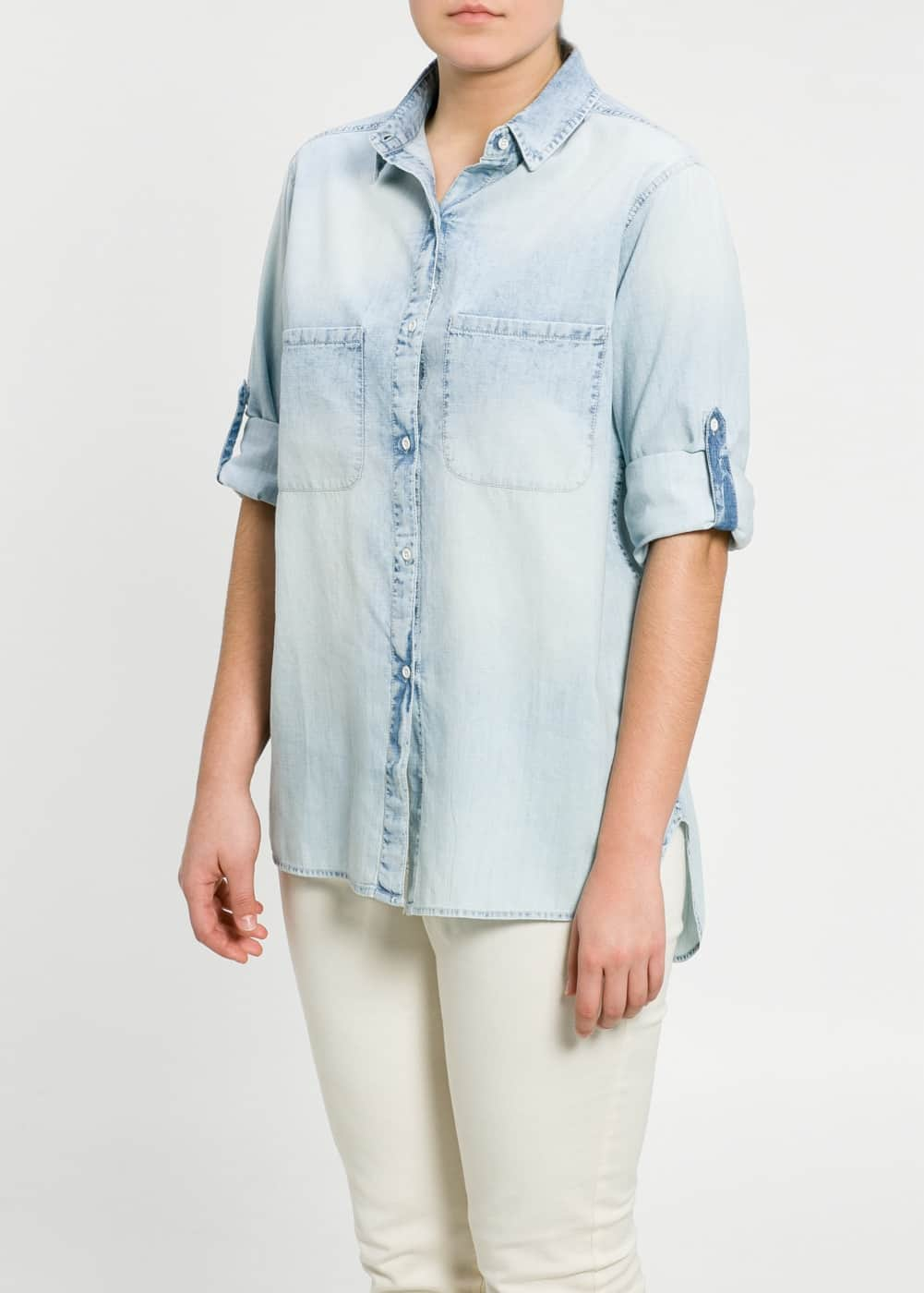 Light denim shirt | MANGO MAN