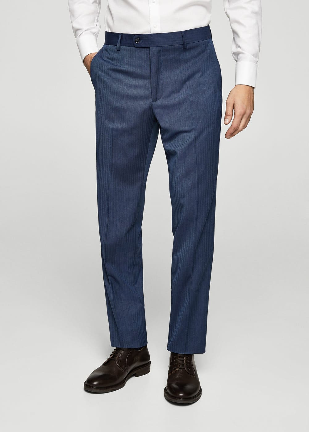 Regular-fit striped pattern suit trousers | MANGO MAN