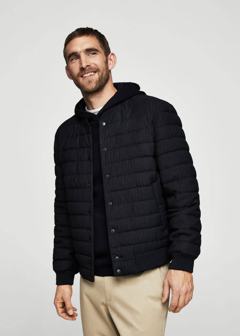 Striped quilted bomber jacket | MANGO MAN