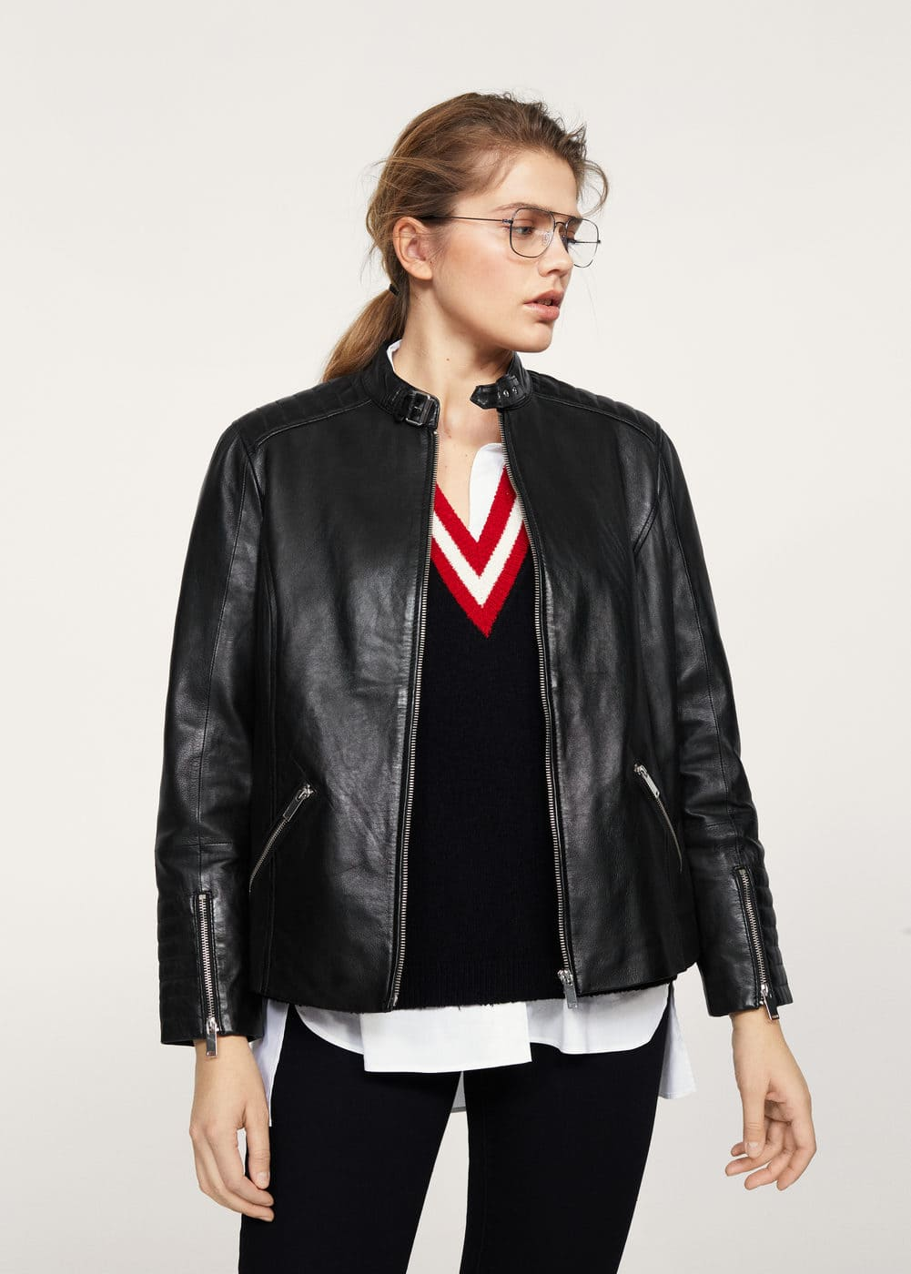 Quilted panel leather jacket | VIOLETA BY MANGO