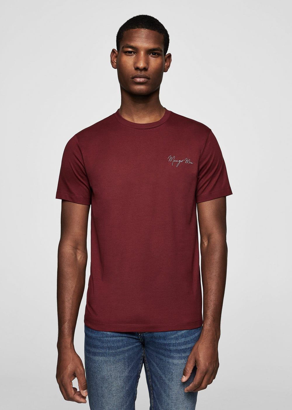 Logo cotton t-shirt | MANGO MAN