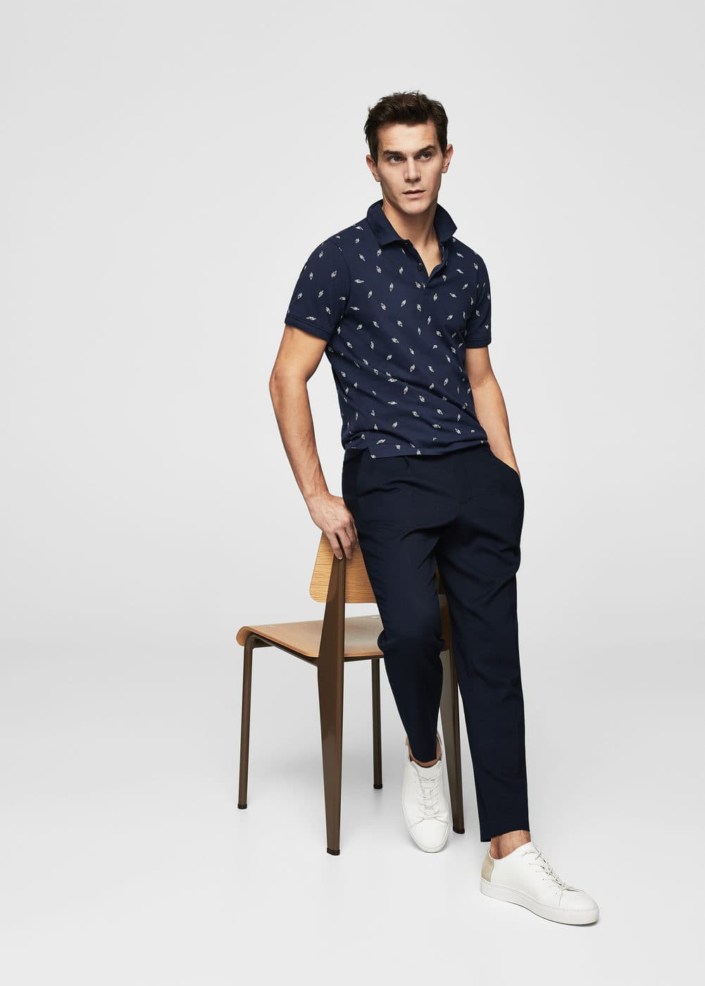 Slim-fit cotton-piqué polo shirt | MANGO MAN