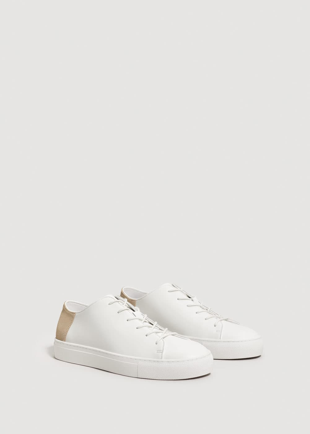 Leather appliqué sneakers | MANGO MAN