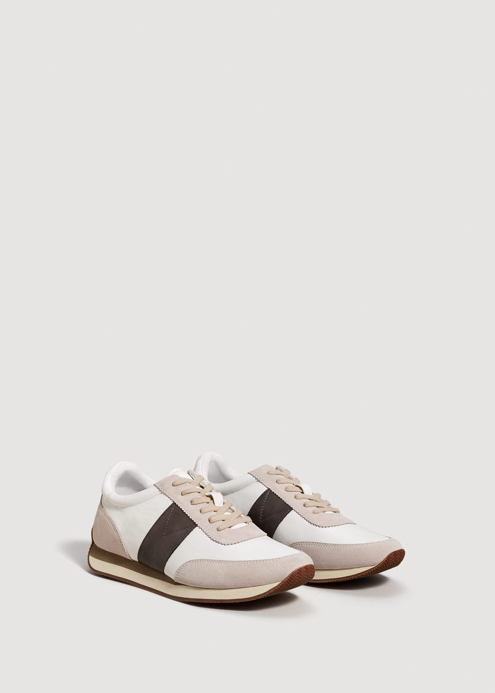 Leather panel sneakers | MANGO MAN