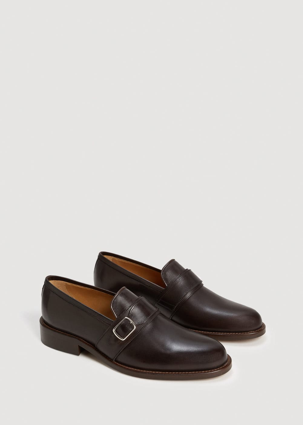 Leather monk-strap shoes | MANGO MAN