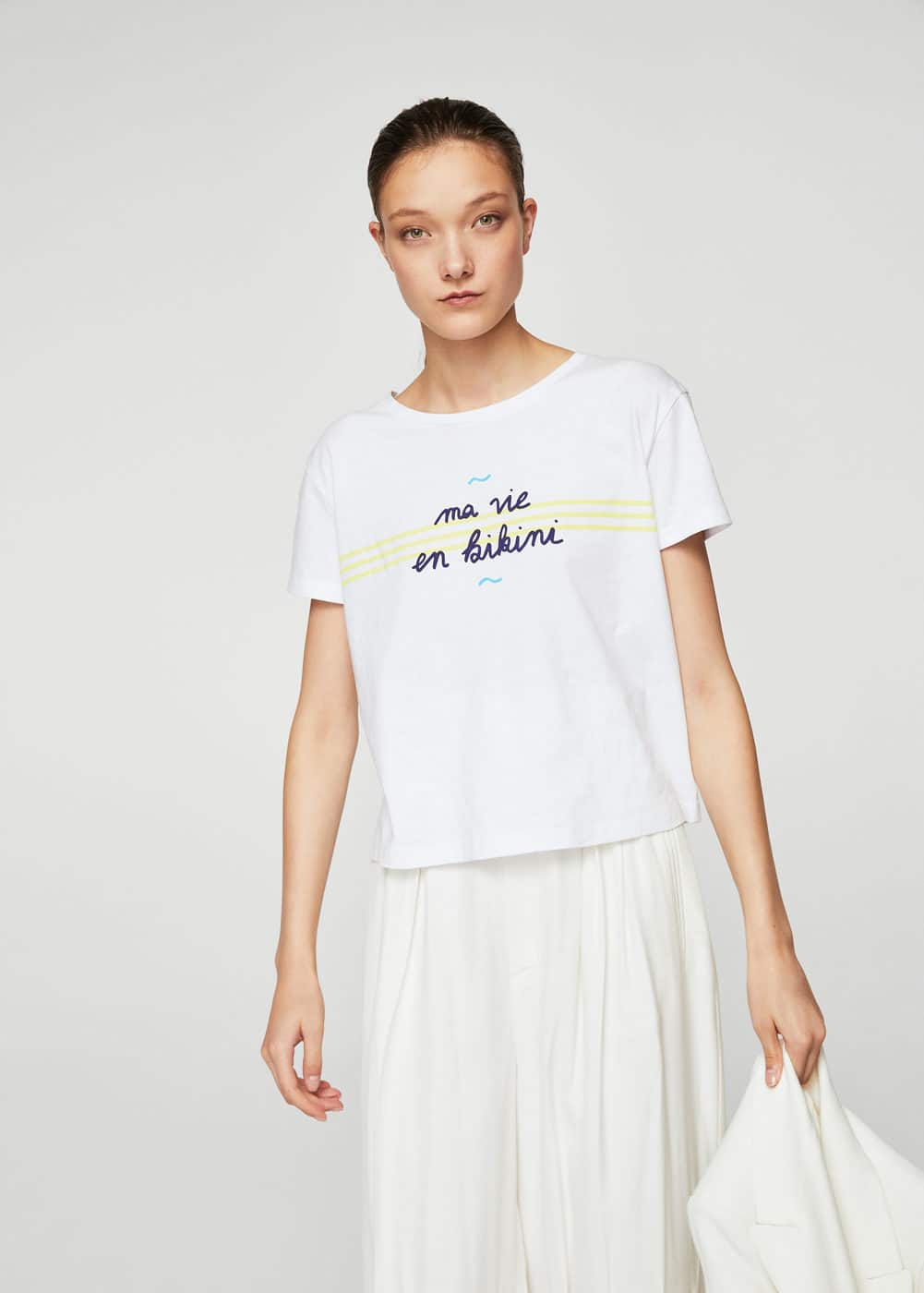 Message crop t-shirt | MANGO