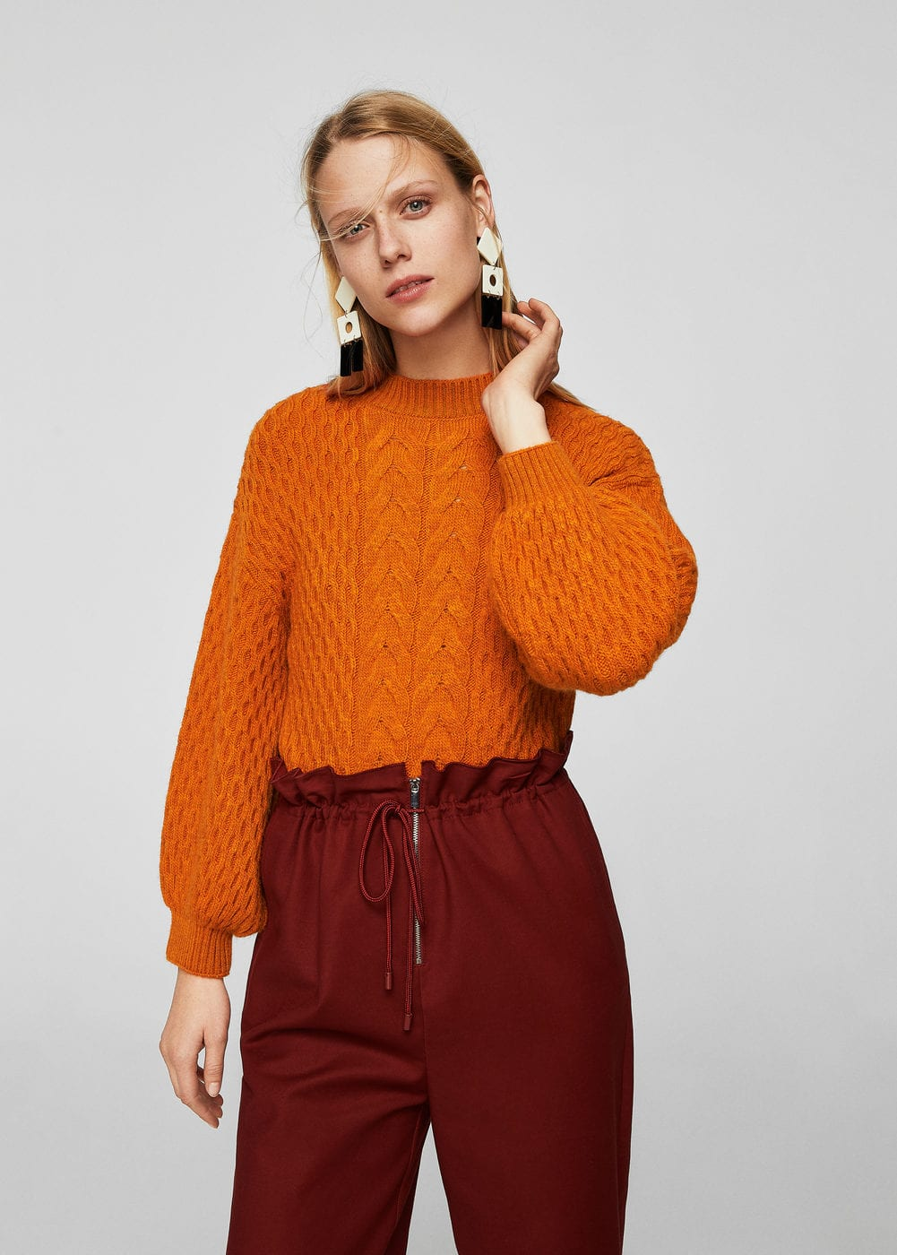 Cable-knit oversize sweater | MANGO
