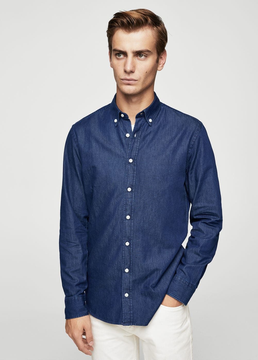 Camicia denim chiaro slim-fit | MANGO MAN