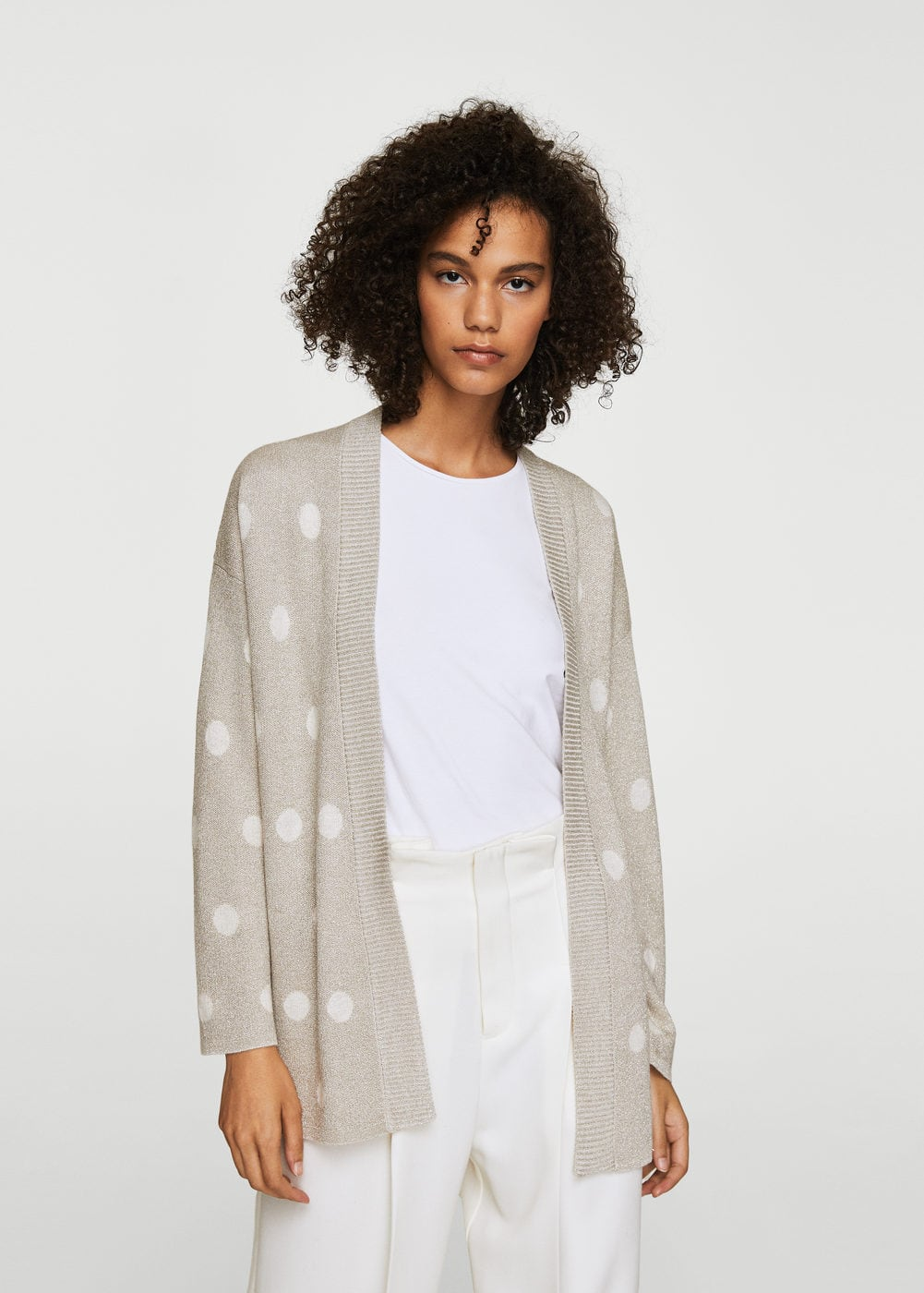 Polka-dot metallic cardigan | MANGO