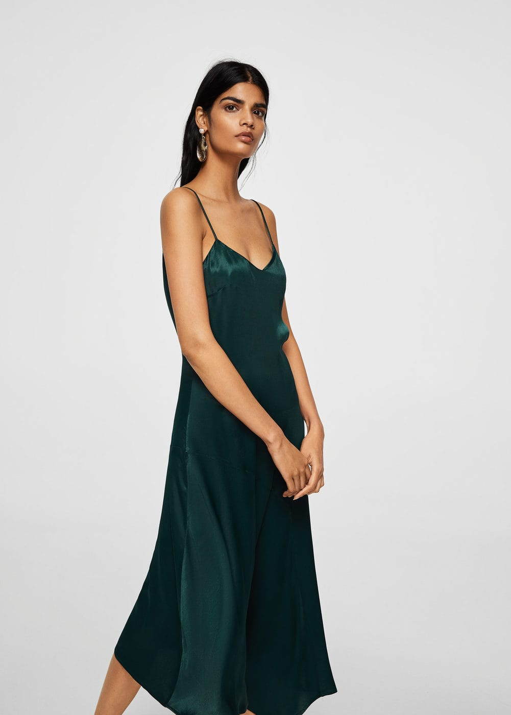 Asymmetrical satin dress | MANGO