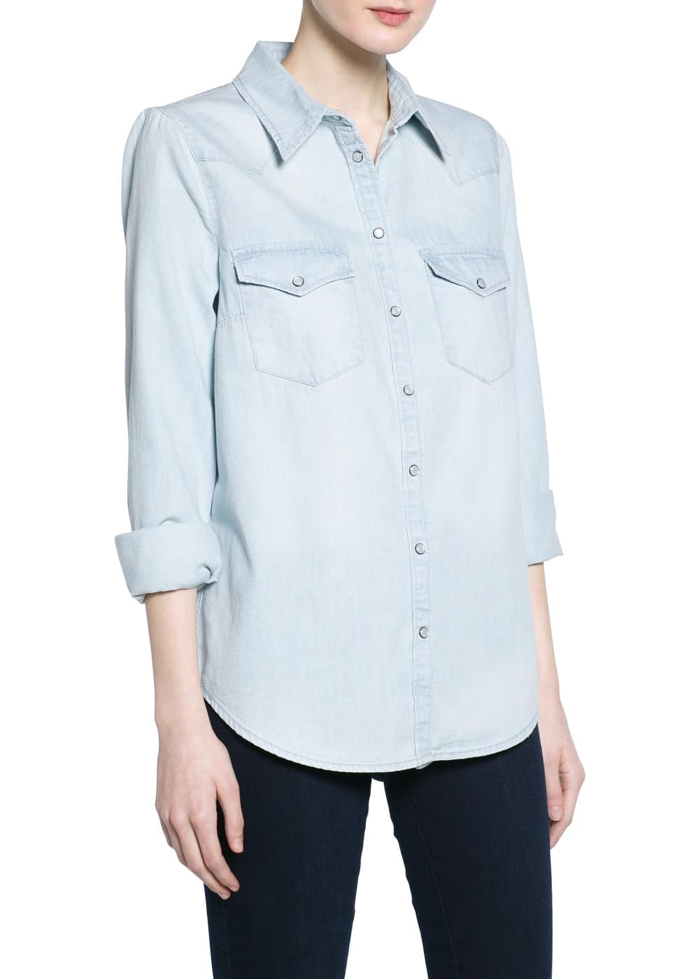 Bleached wash denim shirt | MANGO