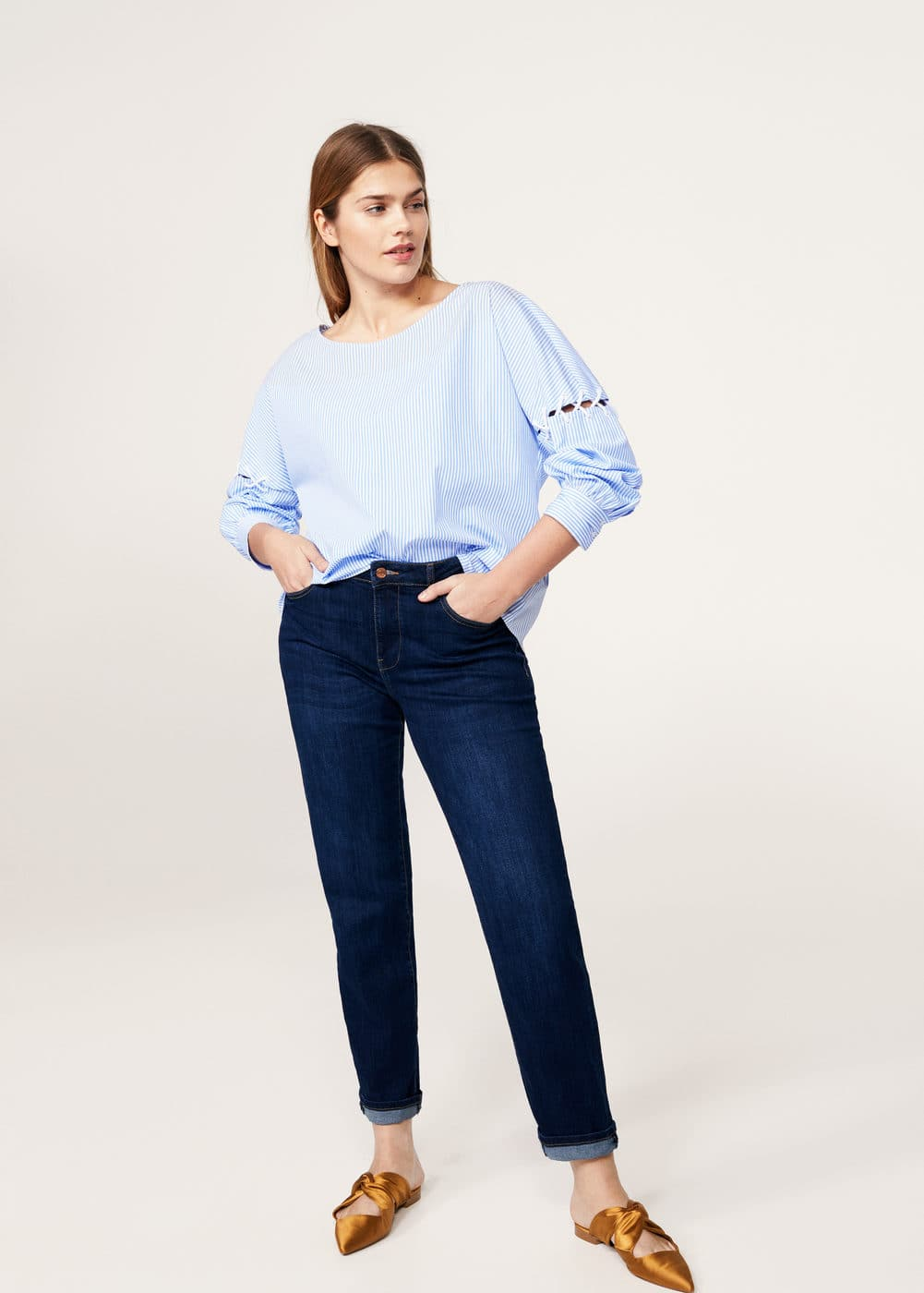 Lace-up detail striped blouse | VIOLETA BY MANGO